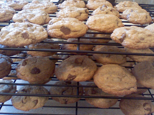 These are my favorite chocolate chip cookies cooling on my favorite baking racks, which are the first ones on this page.