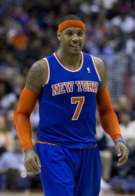 The face Carmelo Anthony gave his agent after he signed his contract.