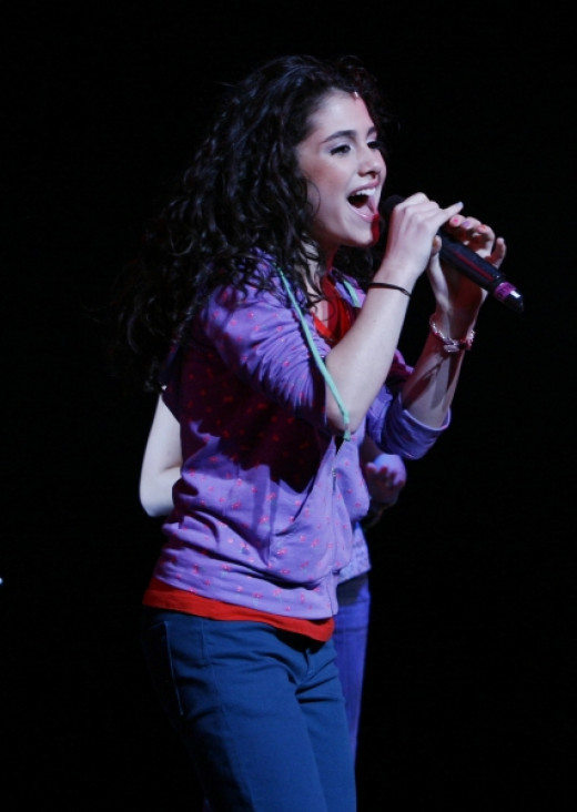 Ariana Grande playing the role of Charolette in the Broadway Show called '13' in 2008