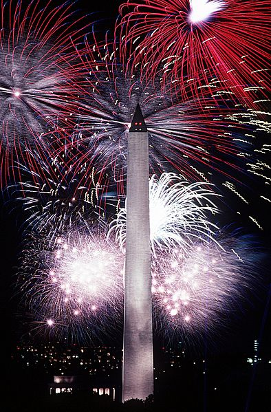 4th July Fireworks at the Washington Monument.