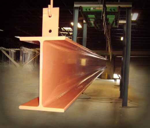Heavy steel beams are often coated with a duplex Epoxy powder coating.
