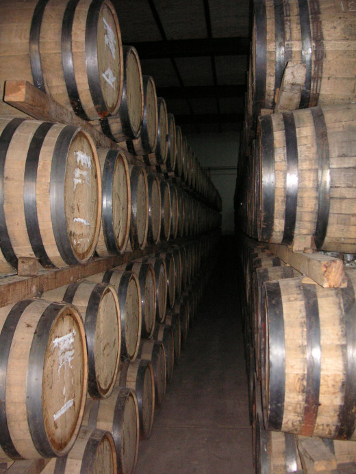 Oak barrels in the El Jimador tequila factory.
