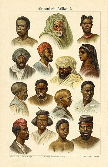 members of African Ethnic groups: Mpongwe, Arabs, Nubians, Zulu, Monbuttu, Niam-Niam, Akka, Bush-men, Somali…