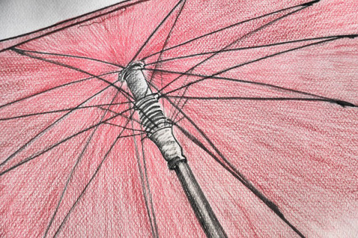 Simple umbrella colorized after initial drawing.