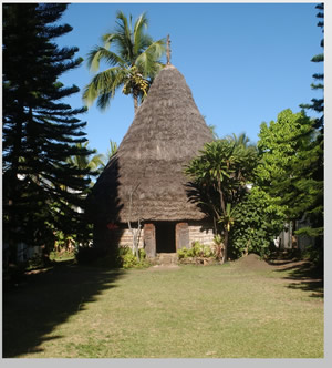 A traditional Kanak hut on display in the museum of New Caledonia in central Noumea