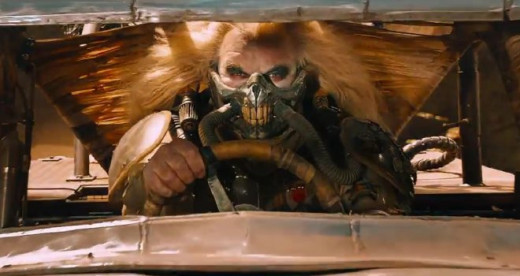 Immortan Joe charges into battle.