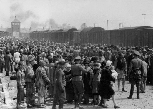 The Holocaust - Jewish Hungarians selected by Nazis to be sent to the gas chamber at Auschwitz concentration camp, May/June 1944.