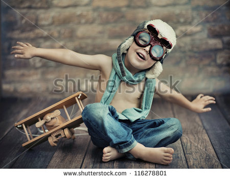 Little Boy With WWII Airplane