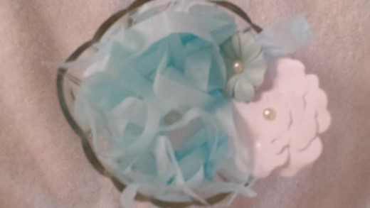 http://Set in a pretty glass dish, and put on hall table or counters. Here, I cut strips of tissue paper to make confetti, then placed two small paper flowers inside. Decorated rocks will be placed on top.