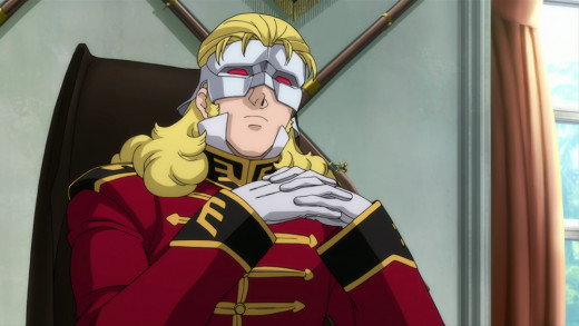 """Series antagonist Full Frontal leads the mysterious Neo Zeon group known as """"the Sleeves"""" and wears a mask to intimidate people."""