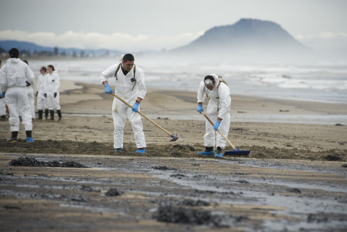 New Zealand government cleanup crew responding to an oil spill. Now what can be done to prevent spills in the first place?