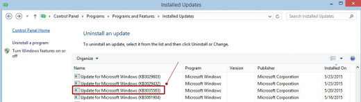 Find and select the KB3035583 windows update
