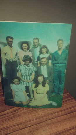 Kneeling- left to right, Aunt Florence and Aunt Helen; sitting, grandpa and grandma; standing, left to right, dad, Aunt Marie, Uncle Augie, Aunt Laura, and Uncle Dick