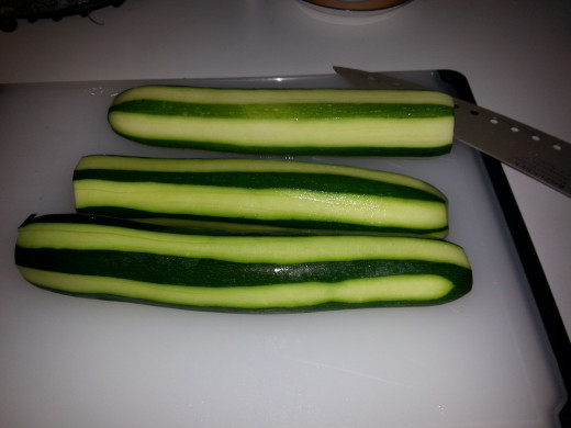 2-3 small or medium zucchini, peeled as much or as little as you like.
