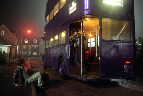 The Knight Bus is a triple-decker purple bus which provides emergency transport for the stranded wizard or witches. The bus travels anywhere as long as it's on land. No Underwater....