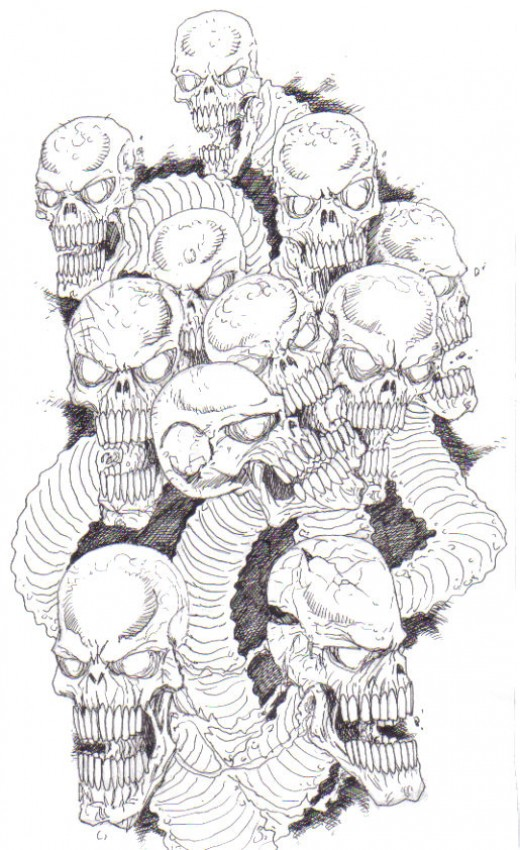 Skull art influenced by the skull drawing tutorial above.  All artwork copyright Wayne Tully 2009.