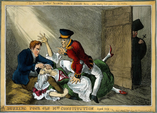 Cartoon of Burke and Hare suffocating Mrs Docherty (also satirizing Wellington and Peel extinguishing the Constitution for Catholic Emancipation)