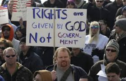 Nothing God gives can be taken away by force, we can only surrender it. So this guy is in fact...wrong...God does not give 'rights' we decide for ourselves through the participation in democracy what our rights are