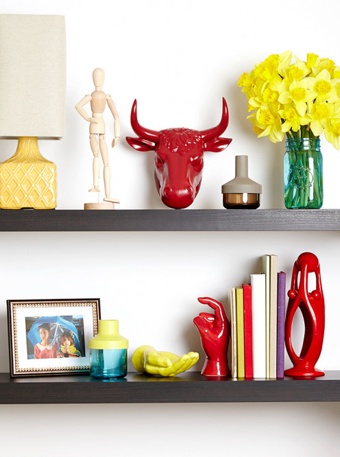 The bright colors on these wall shelves are ideal for summer.
