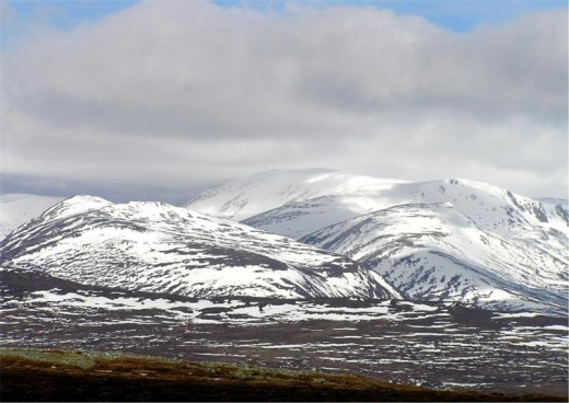 BenMacdui in the Cairngorm mountains, Scotland, where the 'Grey Man' is said to haunt.
