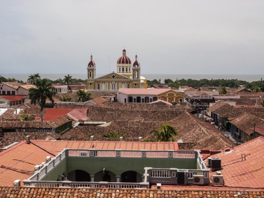 Looking at the main square from the bell towers of Inglesia La Merced, Granada, Nicaragua