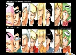 Group image of the Vizards. The Vizards, as they appear 100 years ago (top) and present time (bottom). From Left to right : Hachigen, Love, Kensei, Hiyori, Shinji, Lisa, Rose, and Mashiro.