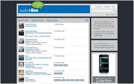 Screenshot of the Audioboo homepage on 13th June 2009.