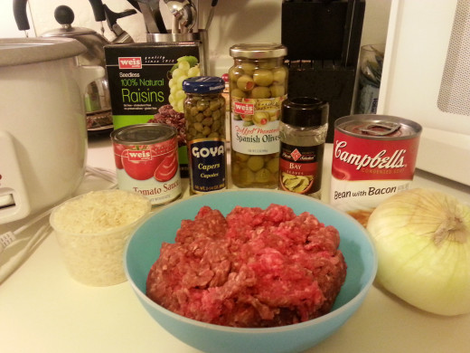 Everything you will need to make Cuban Picadillo.