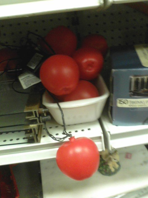 These patio lights are one of the many, many, many things at the SoPo Goodwill which are shaped like vegetables or fruits or berries.