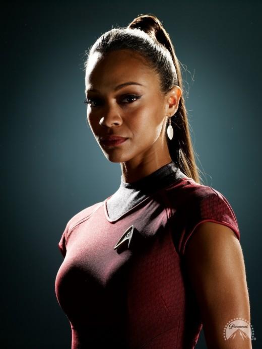 Uhura portrayed by Zoe Saldana