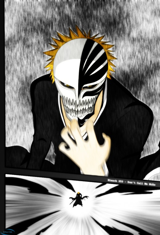 Kurosaki Ichigo in wearing his Hollow mask