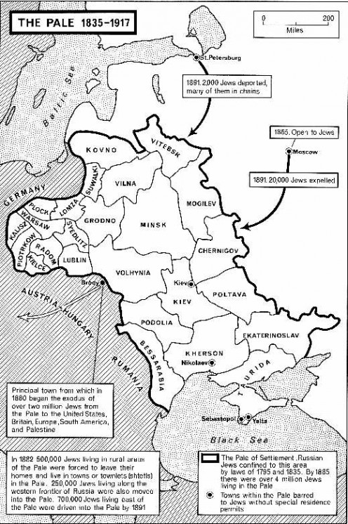 The boundaries of the Pale of Settlement in Russia. Image from Wikipedia