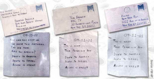 Letters to U.S. Senators containing anthrax