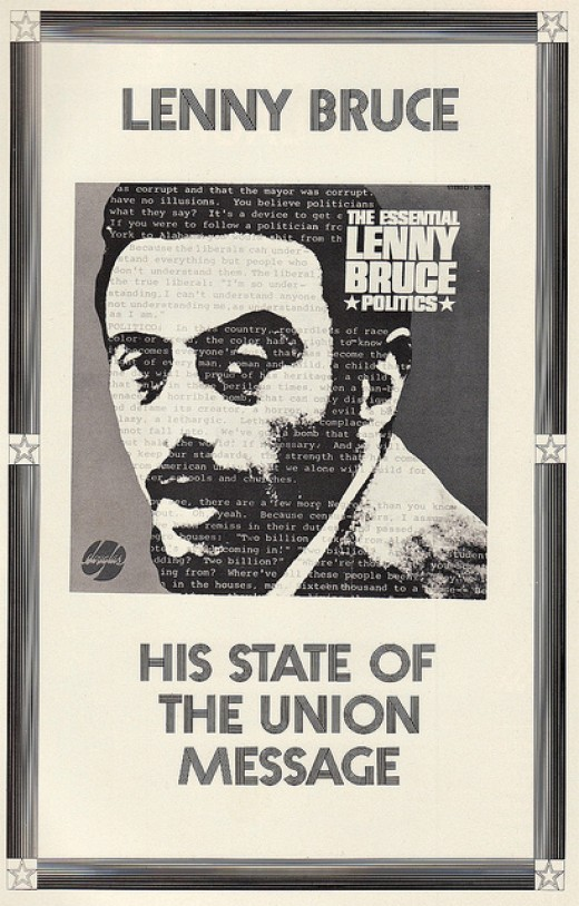 """Lenny Bruce """"The Essential Lenny Bruce Politics"""" Douglas Records 788 (1965) Record Store Promotional Poster Display"""