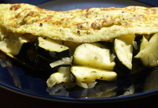 Omelette with courgette.