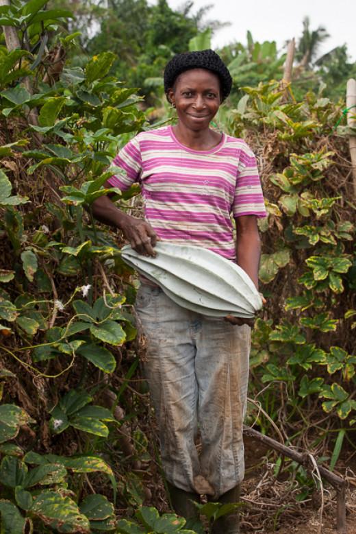 An African woman carrying a pumpkin fruit