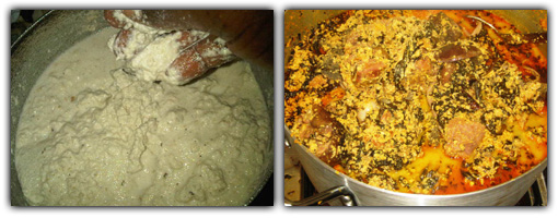 Grinded Egusi seed (Before and after cooking)