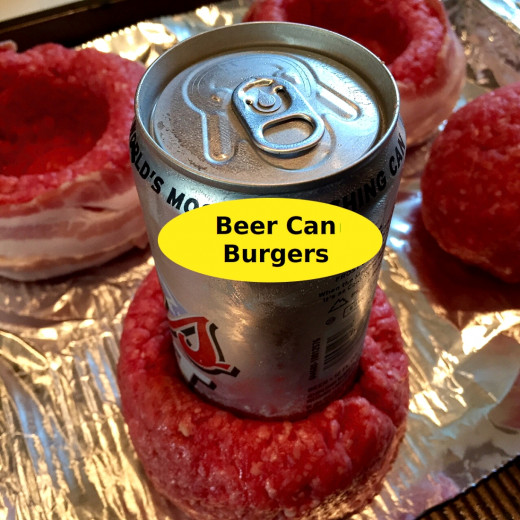 The beer can is used as a mold to create meat and bacon cups or bowls. You can also use bottles and other kitchen items