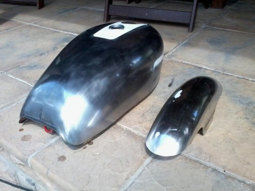Stripped, filled and polished tank and fender