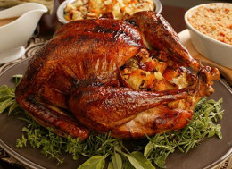Thanksgiving Day roast turkey and stuffing