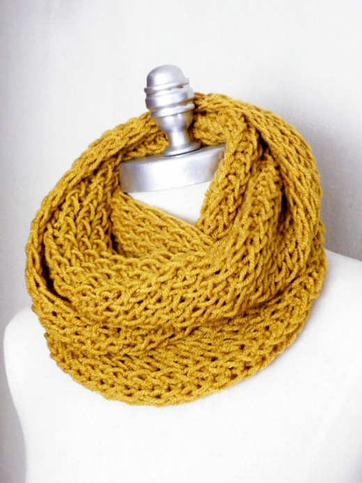 A goldenrod-colored scarf