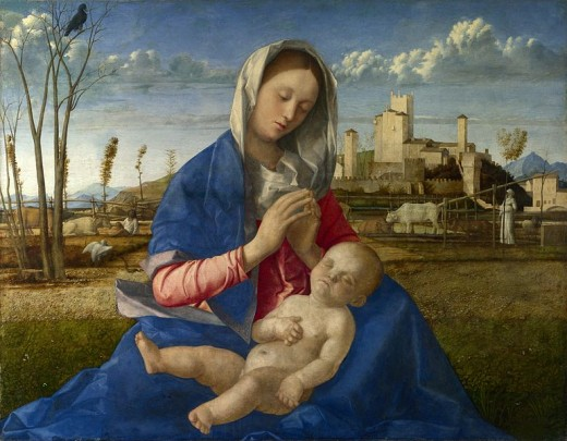 Giovanni Bellini, Madonna of the Meadow (1505), London National Gallery - The landscape in the background shows the countryside south of the city of Feltre and a glimpse of Dolomiti.