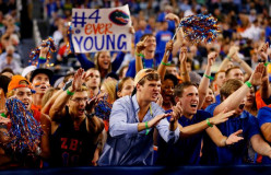 University of Florida fans yell obscene remarks at the opposing team and their fans.
