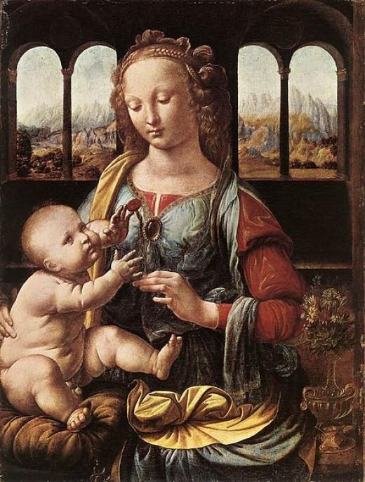 Leonardo da Vinci, Madonna of the Carnation (a. 1473), Monaco Alte Pinakothek