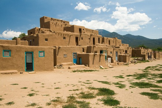 Modern day Taos Pueblo, constructed between 1000 and 1450.  This is similar to how the Salinas Pueblos would have looked before being abandoned, minus the modern addition of doors.  In ancient times the entrances were in the roof.