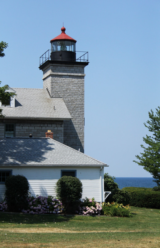 Street Side view of the historic Sodus Bay Lighthouse.
