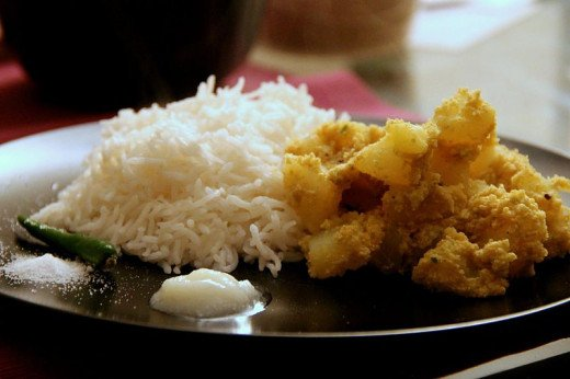 Aloo Posto served with rice