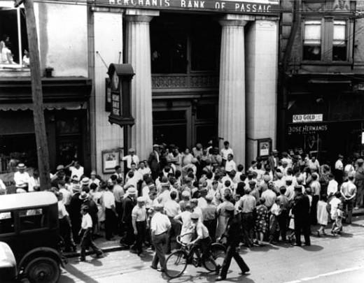 Depositors besiege the Merchants Bank of Passaic, N.J., after the bank was officially closed in 1929