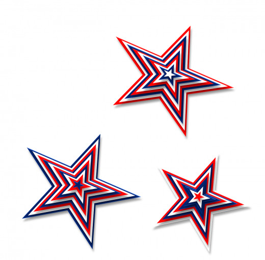 You can hang decorations such as these stars with streamers to provide a patriotic setting.