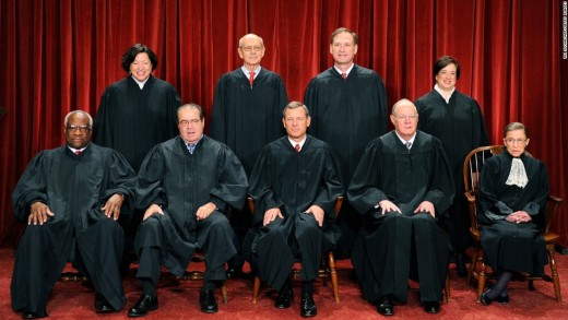 Front row, from left: Clarence Thomas, Antonin Scalia, Chief Justice John G. Roberts, Anthony M. Kennedy and Ruth Bader Ginsburg.  Back row, from left: Sonia Sotomayor, Stephen Breyer, Samuel Alito Jr. and Elena Kagan